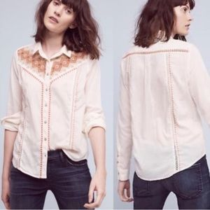 Anthropologie HOLDING HORSES Cream Button Down